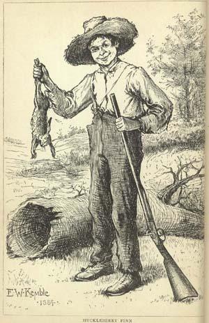 Drawing of Huck Finn.