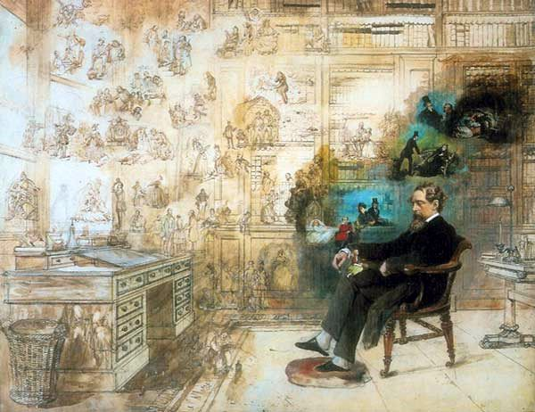 Charles Dickens seated in an old-fashioned office surrounded by wallpapers on which lots of figures are drawn.