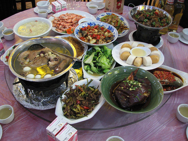 A variety of Chinese foods on a table