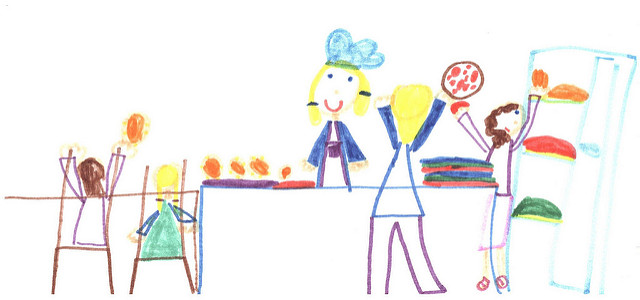 A colorful drawing of a cafeteria with the lunch lady and students