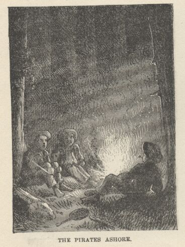 A black and white drawing of Tom Sawyer and Hick Finn and another member of the gang playing pirates.