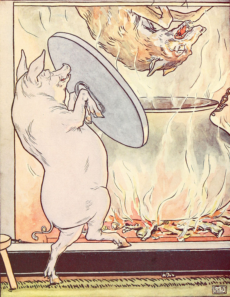 Drawing of a pig throwing a wolf into a cooking pot