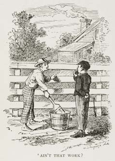Drawing of Tom Sawyer holding a paint brush in his hand while leaning on a fence and talking to Huckleberry Finn