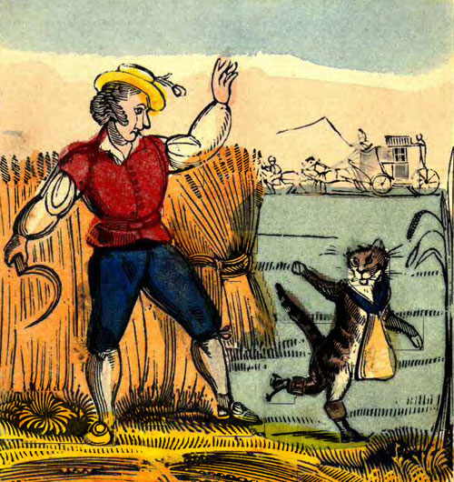 A colorful drawing of a man waving goodbye to a cat who's also waving goodbye as he walks away.