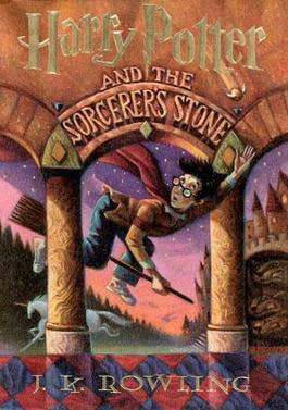 The cover of Harry Potter and the Sorcerer's Stone with Harry Potter riding a broom