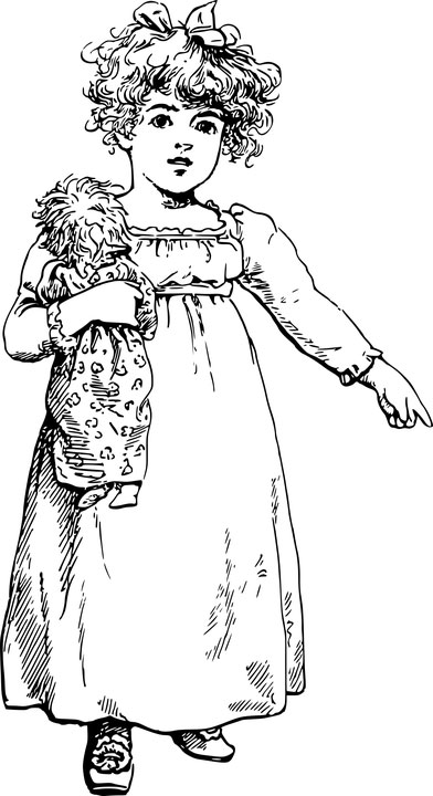 drawing of a little girl and her doll
