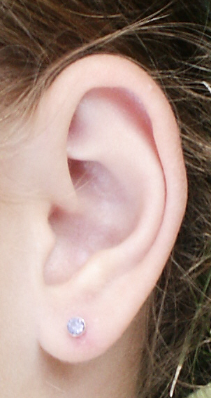 Closeup of an ear with an earring