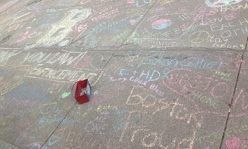 words written on a sidewalk with chalk