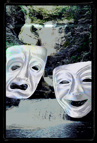A painting of the ancient Greek comedy and drama masks in front of a waterfall