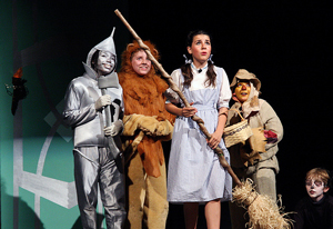 A photograph of four students (the Tin Man, the Cowardly Lion, the Scarecrow, and Dorothy) during a stage production of the Wizard of Oz.
