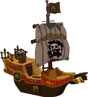 color drawing of a pirate ship with a skull and crossbones on the sail