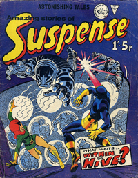An image of an 'Amazing Stories of Suspense' comic book. The cover art features a battle going on between human superheroes and robots.