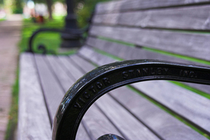 A photograph of an empty park bench taken from the angle of the left arm of the bench