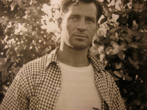 A photograph of writer Jack Kerouac taken in the 1950s