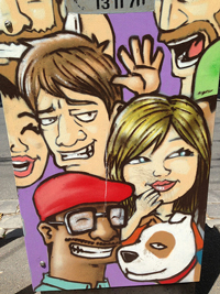 A photograph of several cartoon characters with expressive faces