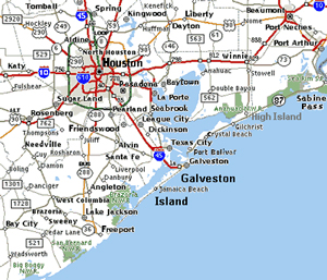 A portion of a road map that shows the roads around the Houston & Galveston are in coastal Texas