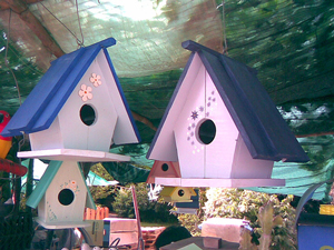 A photograph of several wooden bird houses