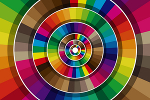 An image of a several color wheels showing a broad spectrum of colors