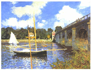 A painting of a sailboat, without sails, on a river near a bridge