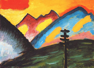 A painting of mountains and the sky using primary colors