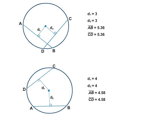 Circle - Chords AB and DE perpendicular to radii