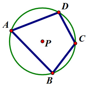 Quadrilateral ABCD inscribed in a circle