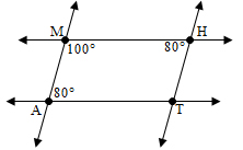 Image shows quadrilateral MATH with angle M equal to 100 degrees, angle A equal to 80 degrees and angle H equal to 80 degrees