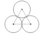 Image shows three circles tangent to each other. Their centers are connected by dotted line segments