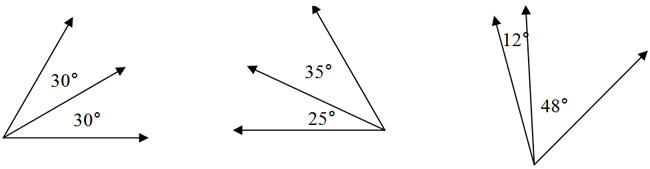 Two adjacent 30° angles and two; Two adjacent 35° and 25° angles; Adjacent 12° and 36° angles