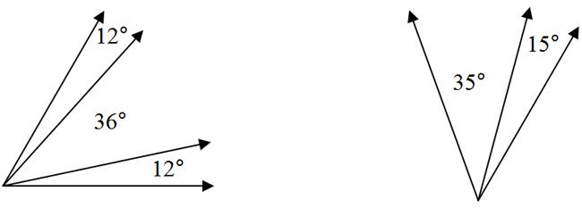 3 adjacent angles, 12°, 36°, 12°; 2 adjacent angles, 35°, 15