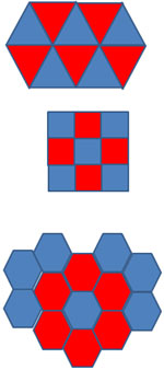 The image shows three tessellations: one with triangles, one with squares, and one with regular hexagons