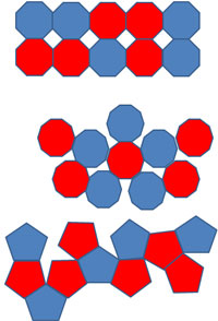 The image shows three figures that do not tessellate: one with octagons, one with decagons, and one with pentagons