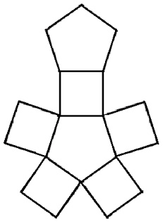 The image shows a central pentagon with squares attached to each of its 5 sides.  There is an additional pentagon attached to the top of the top, middle square.
