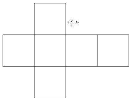 Net of a cube with one side of a square labeled 3 and three-quarters feet.