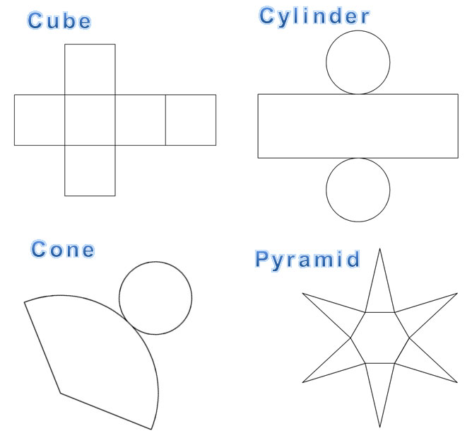 Images of common nets: cube, cylinder, cone, pyramid, and prism.