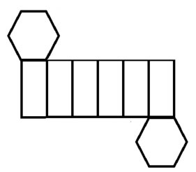 The image is 6 rectangles in a row with a hexagon attached to to the top-left and bottom-right.