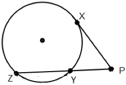 Circle with one secant and one tangent that intersect at point P