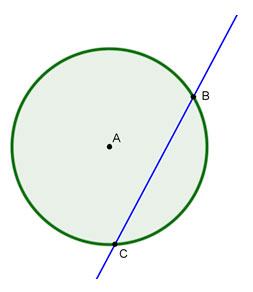 circle A with secant BC