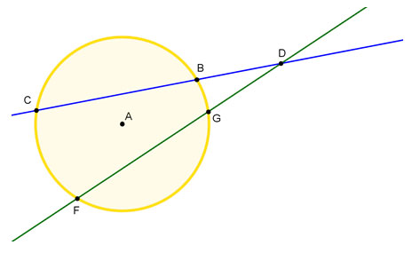 Circle A with two secants intersecting at point D