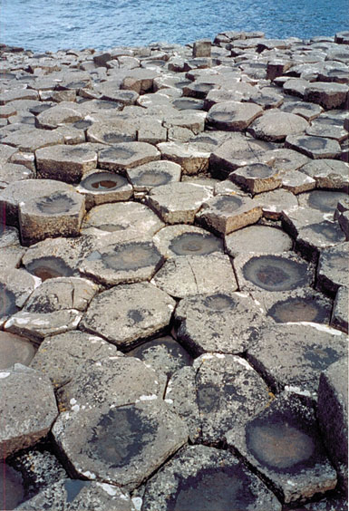 Rock formations at Giant's Causeway in Northern Ireland