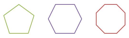 regular pentagon, hexagon, and octagon