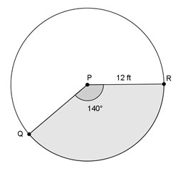 circle with 140° sector and radius of 12 feet