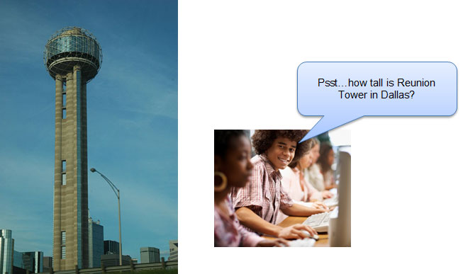 student asking how tall is Reunion Tower in Dallas and an image of Reunion Tower in Dallas, Texas