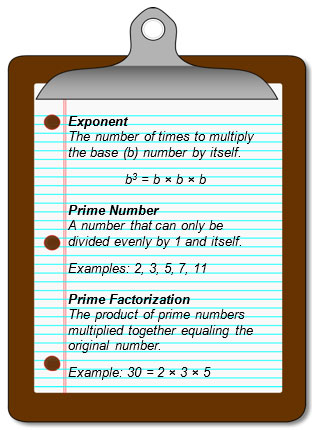Exponent, prime number, prime factorization