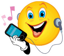 Smiling emoticon listening to music