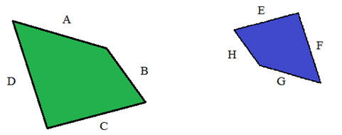 Shapes with equivalent sides and equivalent ratios