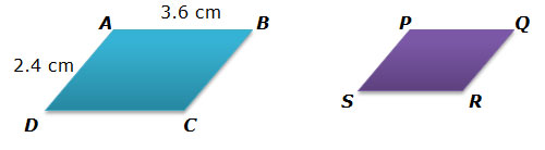Small parallelogram scaling to a larger parallelogram