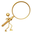Illustration of a tiny human carrying a gigantic magnifying glass