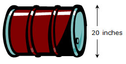 Image of barrel with diameter labeled 20 inches