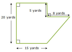hexagonal yard with dimensions labeled